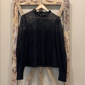 Nanette Lepore black silk and lace blouse